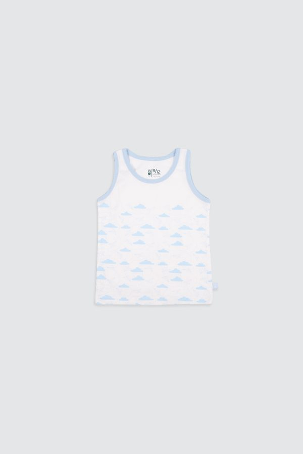 Paperplane-Sleeveless-Top-Blue—Front