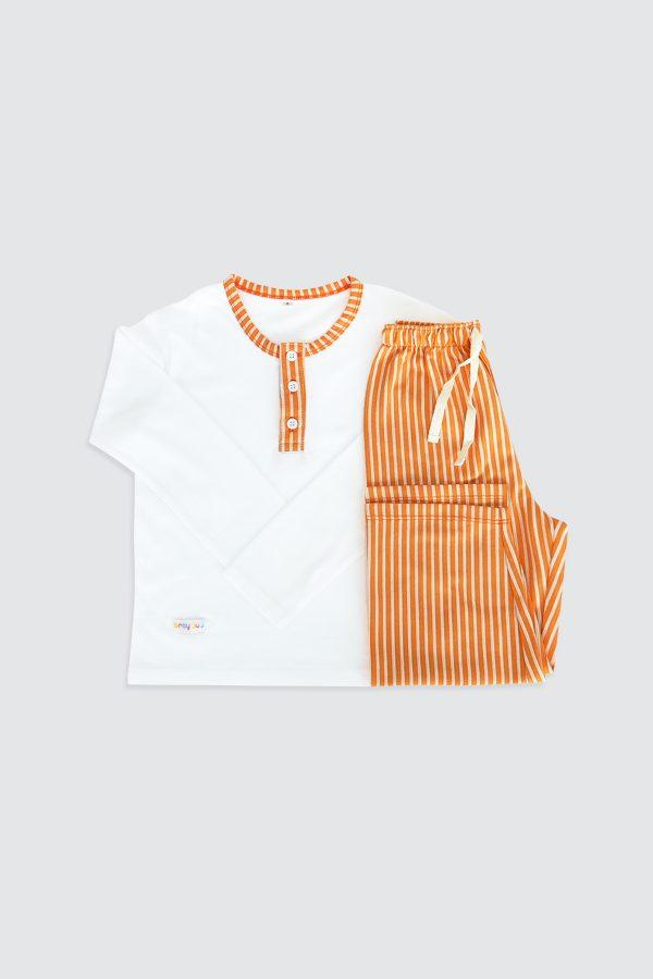Long-Sleeve-Henley-Pjamas-and-Long-Pants-Orange