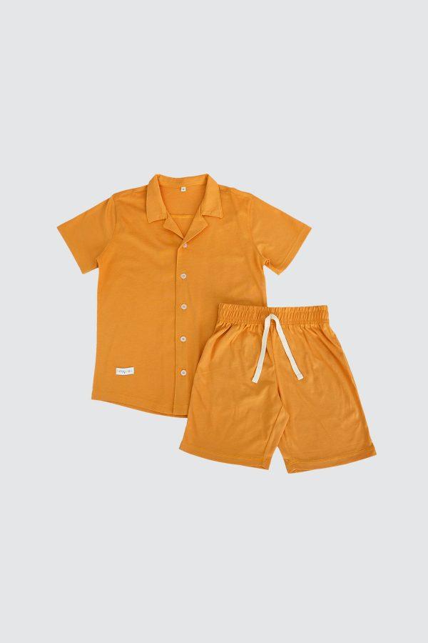 Short-Sleeve-Shirt-and-Short-Pjamas-Mustard
