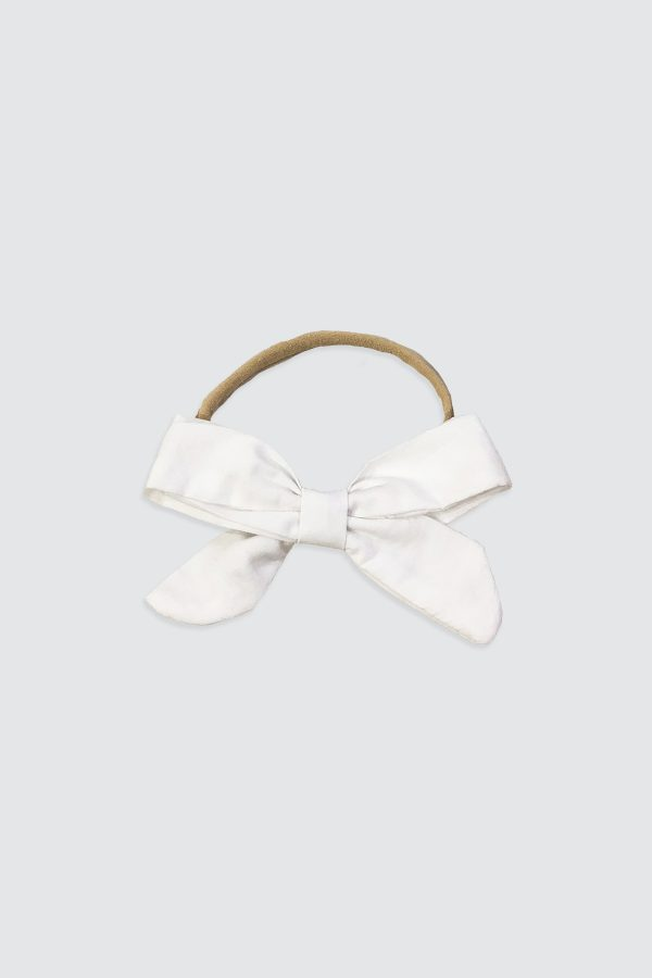 Nylon-Headband-Bow-White