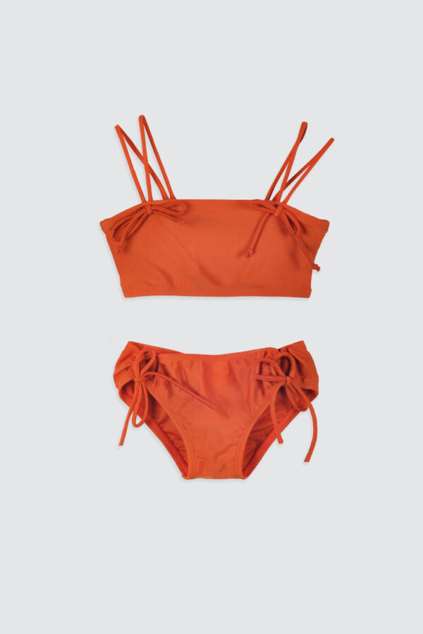 Girls-Double-Strap-Bandeau-Bikini-Rust-1